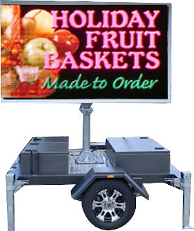 Standard definition mobile LED sign for hire - Fruit Baskets