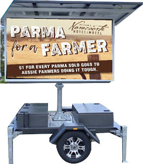 Standard definition Solar Powered mobile LED sign with Solar Screen - Parma for a Farmer