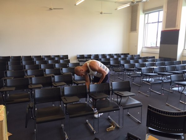 Sydney University Temporary Classroom Student Lecture Theatre Chair Hire - delivered, set-up, installed and removed